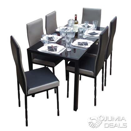 6BGB - 6 Places Salle à Manger Démontable En Verre, Très Solide, Noir et  Gris- SQT09011950211