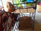 Mini Bar Roulant en Fer Tissé Raphia - Cameroun