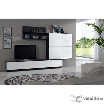 Lue meuble tv mural 250cm coloris blanc brillant et noir - Meuble tv noir brillant ...